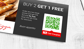 QR Code with get coupon frame for buy 2 get 1 free discount at restaurant