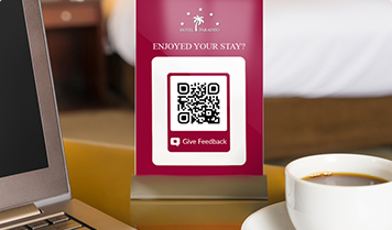 QR Code with give feedback frame on comment card in hotel room