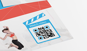 QR Code with watch video frame on flyers for fitness gym